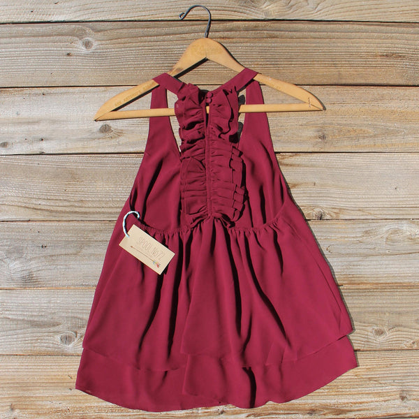 Sweet Thicket Ruffle Top in Wine: Featured Product Image