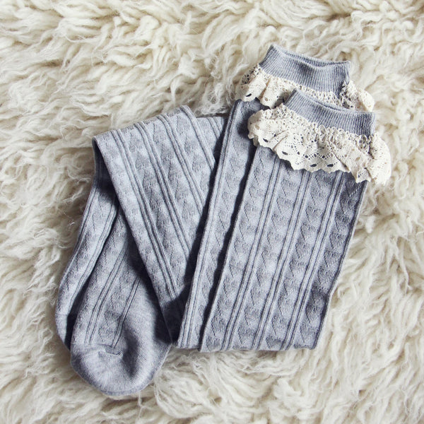 Sweetheart Lace Socks in Gray: Featured Product Image