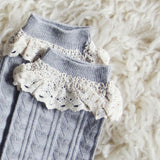 Sweetheart Lace Socks in Gray: Alternate View #2