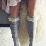 Sweetheart Lace Socks in Gray: Alternate View #3