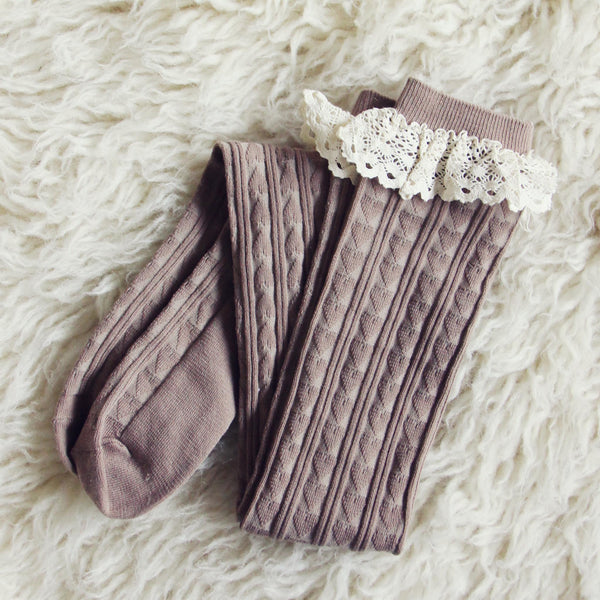 Sweetheart Lace Socks in Taupe: Featured Product Image