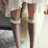 Sweetheart Lace Socks in Taupe: Alternate View #2