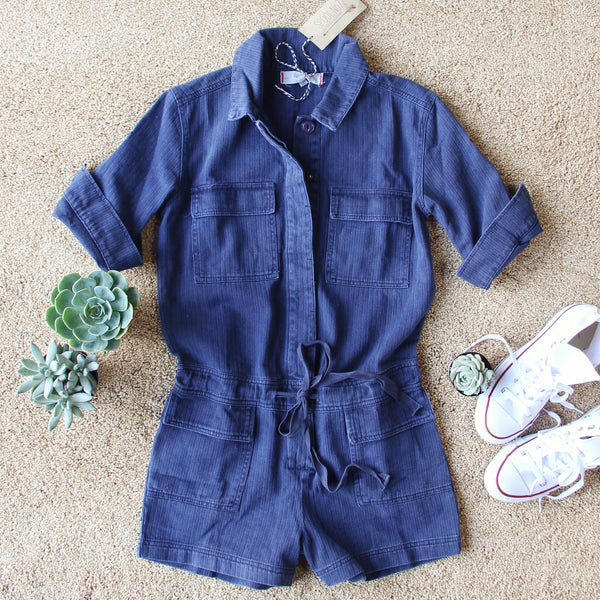 Sweetly Olive Romper in Navy: Featured Product Image