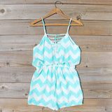 Sweetvine Chevron Romper in Turquoise: Alternate View #4