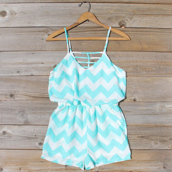 Sweetvine Chevron Romper in Turquoise: Featured Product Image