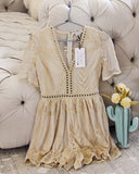 Tainted Rose Lace Romper in Sand: Alternate View #1