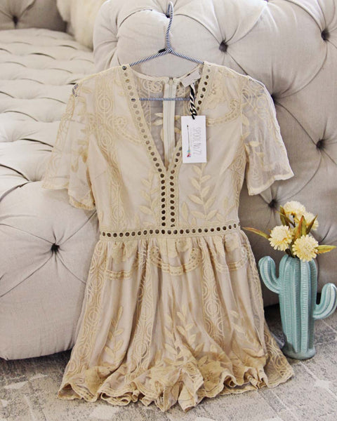 Tainted Rose Lace Romper in Sand: Featured Product Image