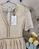 Tainted Rose Lace Romper in Sand: Alternate View #2