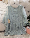 Tainted Rose Lace Top in Sage: Alternate View #2