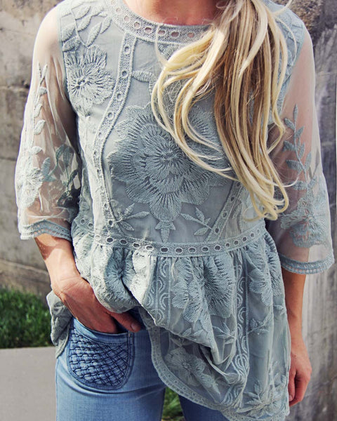 Tainted Rose Lace Top in Sage: Featured Product Image