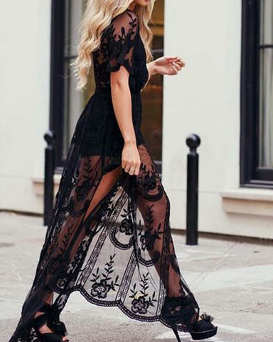 Tainted Rose Lace Maxi Dress in Black