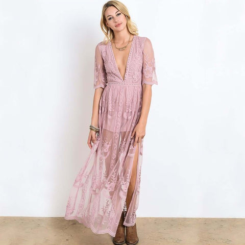Tainted Rose Lace Maxi Dress