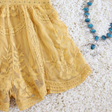 Tainted Rose Lace Romper in Mustard: Alternate View #3