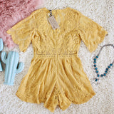 Tainted Rose Lace Romper in Mustard: Alternate View #4