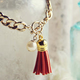 Tassel & Chain Bracelet in Rust: Alternate View #2