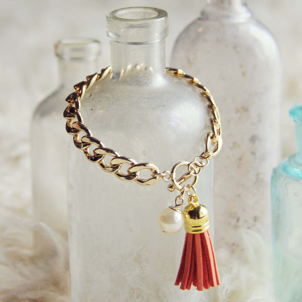 Tassel & Chain Bracelet in Rust: Featured Product Image