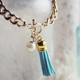 Tassel & Chain Bracelet in Mint: Alternate View #2