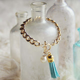 Tassel & Chain Bracelet in Mint: Alternate View #1