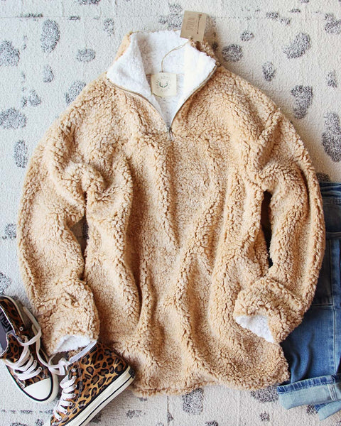 Teddy Cozy Pullover in Sand: Featured Product Image