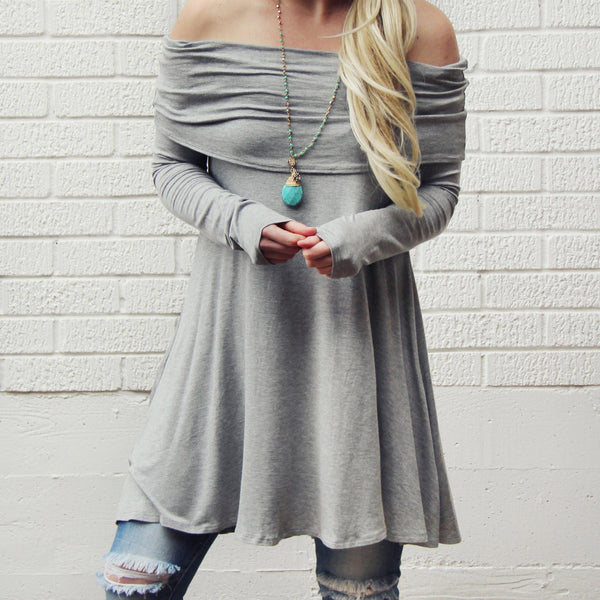 The Bailey Tunic Tee in Gray: Featured Product Image