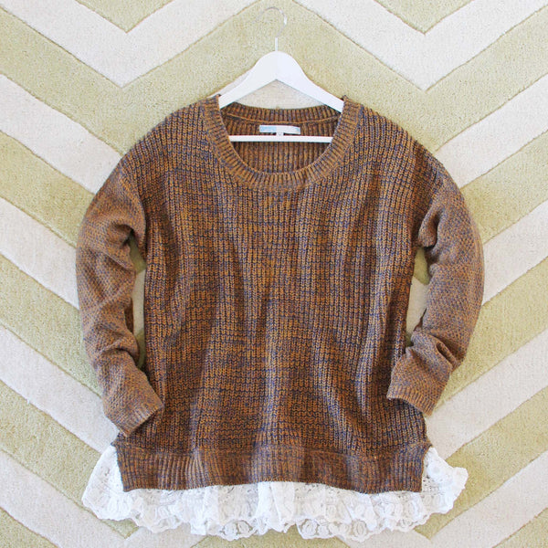 The Boyfriend Lace Sweater in Timber: Featured Product Image