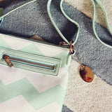 The Chevron Cross Body Tote in Mint: Alternate View #3