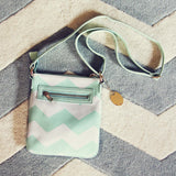 The Chevron Cross Body Tote in Mint: Alternate View #2
