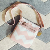 The Chevron Cross Body Tote in Pink: Alternate View #2