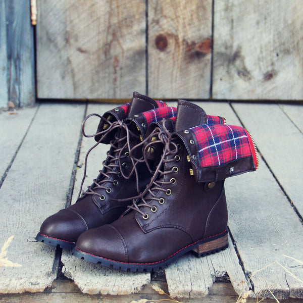 Sweater Weather Plaid Boots in Brown: Featured Product Image