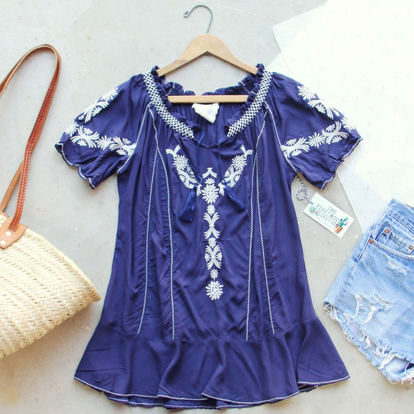 Harlow Embroidered Tunic in Navy: Featured Product Image