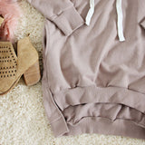 The Lace-up Sweatshirt Dress in Taupe: Alternate View #3