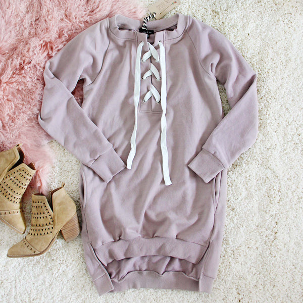 The Lace-up Sweatshirt Dress in Taupe: Featured Product Image