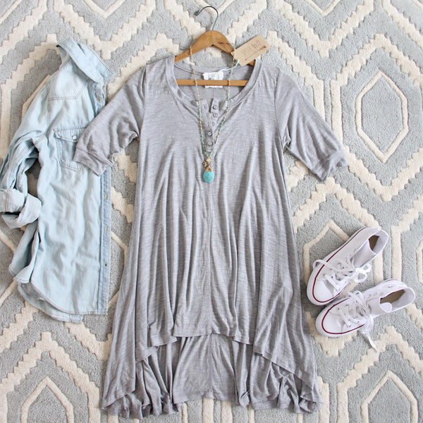 Lola T-Shirt Tunic Dress in Gray: Featured Product Image