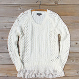 Marlow Lace Fisherman's Sweater in Cream: Alternate View #1