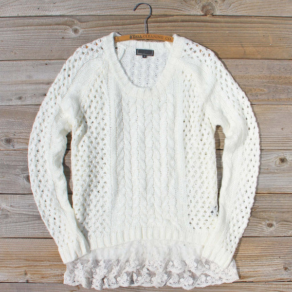Marlow Lace Fisherman's Sweater in Cream: Featured Product Image