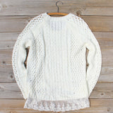 Marlow Lace Fisherman's Sweater in Cream: Alternate View #4