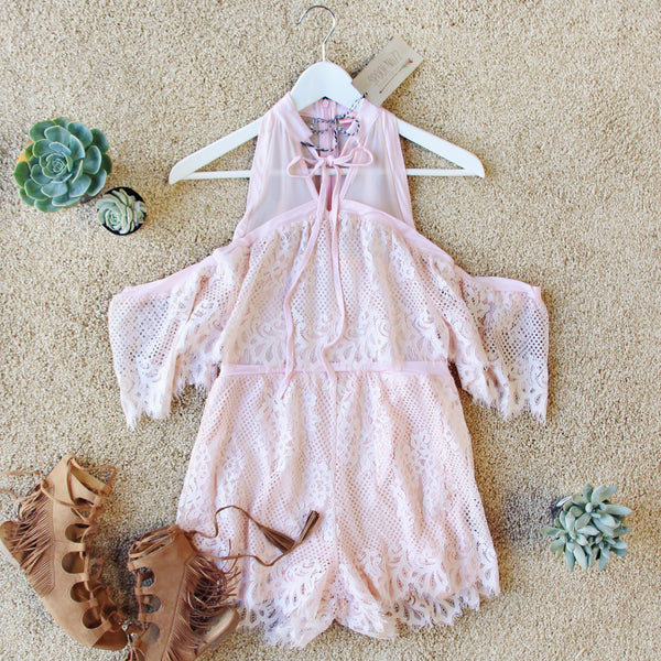 The Mick Lace Romper in Pink: Featured Product Image