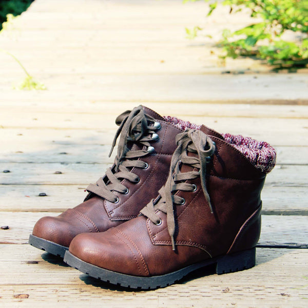 The Mountaineer Sweater Boots in Brown: Featured Product Image