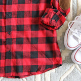 The Patches & Plaid Flannel in Red: Alternate View #3