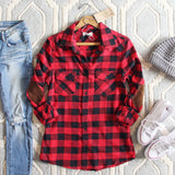 The Patches & Plaid Flannel in Red: Alternate View #1