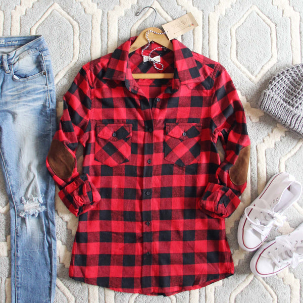 The Patches & Plaid Flannel in Red: Featured Product Image