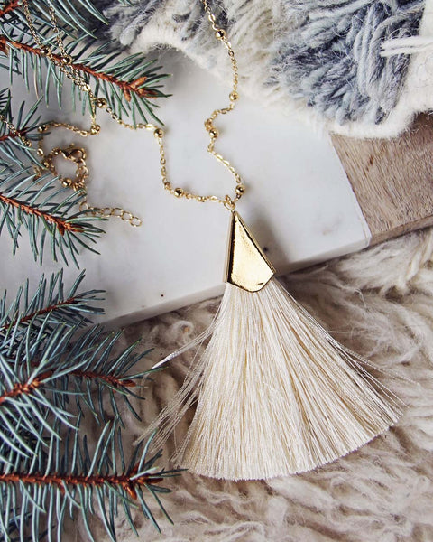 The Tassel Necklace in Cream: Featured Product Image