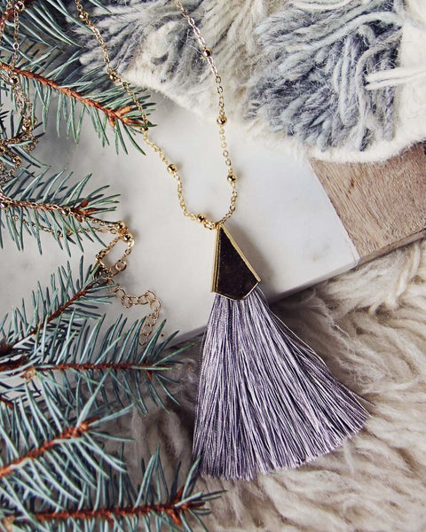 The Tassel Necklace in Gray: Featured Product Image