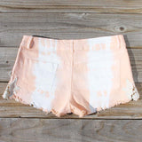 Tie Dye & Lace Shorts in Peach: Alternate View #3