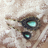 Turquoise & Stone Hair Pins: Alternate View #1