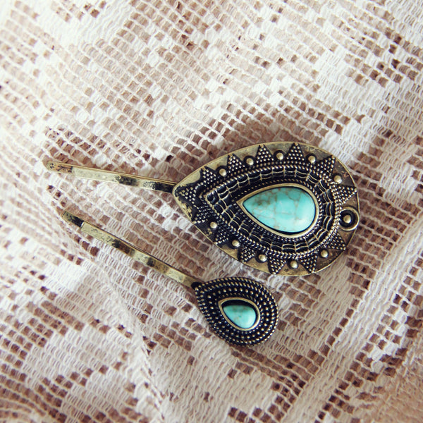 Turquoise & Stone Hair Pins: Featured Product Image