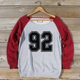 Varsity Sweatshirt in Burgundy: Alternate View #1