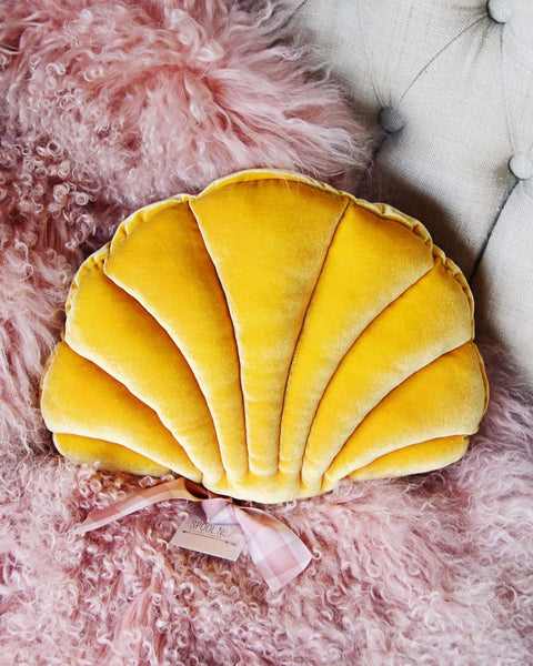 Velvet Shell Pillow in Mustard: Featured Product Image