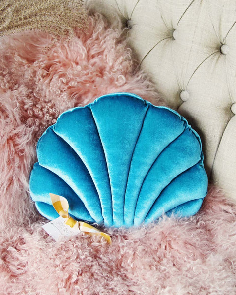 Velvet Shell Pillow in Teal: Featured Product Image