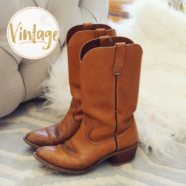 Vintage Honey Cowboy Boots: Featured Product Image